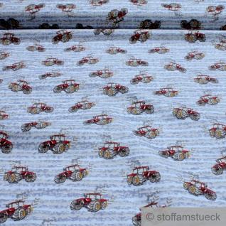 Stoff Kinderstoff Baumwolle Popeline hellblau Traktor rot gelbe Räder Trecker