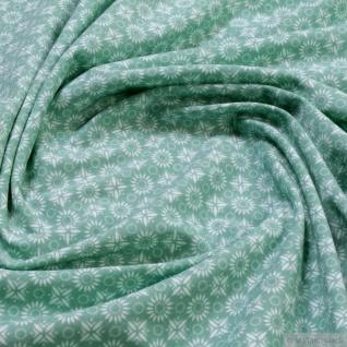 0, 5 Meter Stoff Baumwolle Elastan Single Jersey Blümchen türkis weiß allover