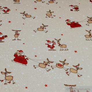 Stoff Baumwolle Polyester Rips natur Rudolph Weihnachtsstoff Weihnachtsmann
