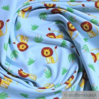 Stoff Kinderstoff Baumwolle Elastan Single Jersey hellblau Löwe dehnbar