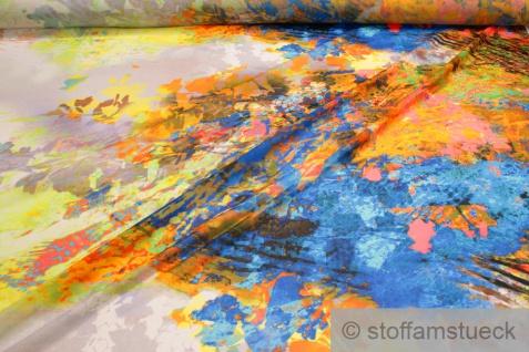 Stoff Polyester Chiffon Batik-Optik blau orange bunt transparent leicht