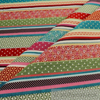Stoff Baumwolle Polyester Jacquard Streifen bunt Punkte Blümchen