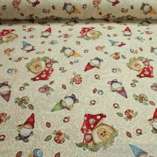 Stoff Weihnachtsstoff Baumwolle Polyester Gobelin Zwerg Fliegenpilz Glückspilz