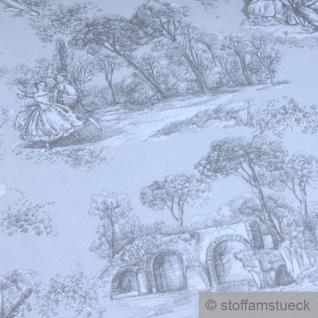Stoff Baumwolle Rips Toile de Jouy Dorf hellgrau anthrazit breit 280 cm - Vorschau 4