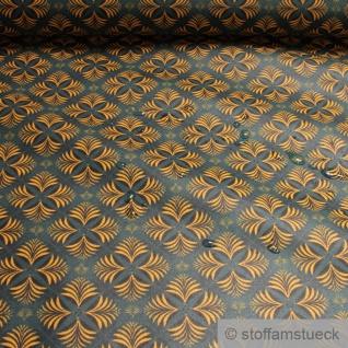 Stoff Baumwolle Acryl petrol Palmblatt wasserabweisend beschichtet