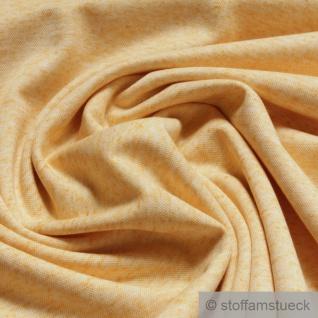 Stoff Leinen Polyester Lycra Interlock Jersey gelb meliert dehnbar weich