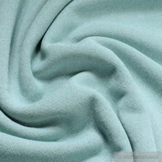 Stoff Baumwolle Lurex Single Jersey pastelltürkis Glitzer angeraut Glitter