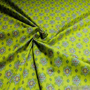 Stoff Baumwolle Provence kiwi Ornament 160 cm Baumwollstoff Valdrome Indienne