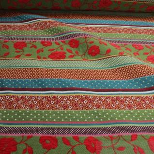Stoff Baumwolle Jacquard Streifen bunt breit 290 cm breit Punkte Blümchen - Vorschau 2