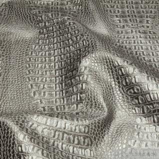 Stoff PVC Kunstleder Krokodil silber matt glänzend Alligator