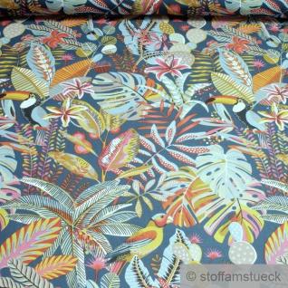 Stoff Baumwolle Rips blau Dschungel Papagei breit 280 cm Blatt Blätter Palme