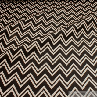 Stoff Baumwolle Polyester Rips Geometrie Zickzack natur schwarz Zacken