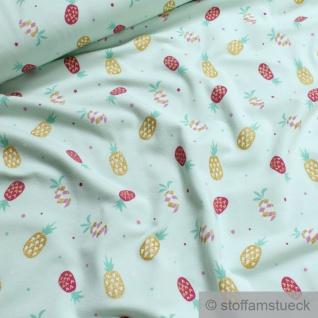 Stoff Kinderstoff Baumwolle Elastan Single Jersey pastelltürkis Ananas Glitzer