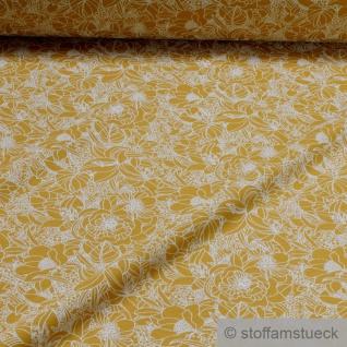 0, 5 Meter Stoff Baumwolle Elastan Single Jersey ocker Blume beige - Vorschau 2
