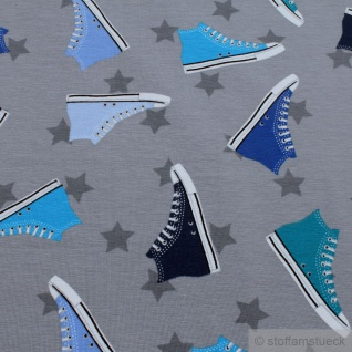 Stoff Baumwolle Elastan Single Jersey hellgrau Turnschuh Chucks Sneaker Stern - Vorschau 2