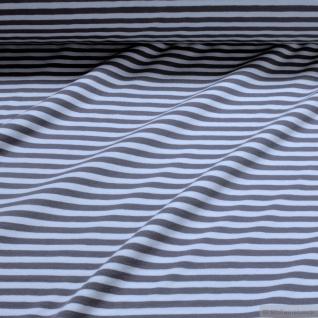 0, 5 Meter Stoff Baumwolle Elastan Single Jersey Streifen grau weiß Ringeljersey - Vorschau 2