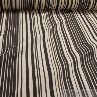Stoff Baumwolle Polyester Rips Streifen natur schwarz überbreit 280 cm breit