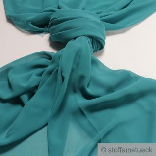Stoff Polyester Chiffon türkis transparent leicht weich fallend
