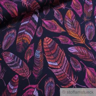 0, 5 Meter Stoff Viskose Elastan Single Jersey dunkelblau Feder pink fließend fallend