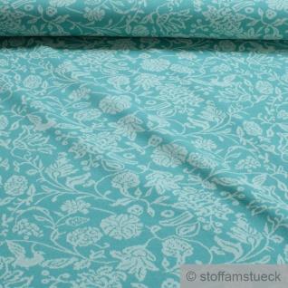 0, 5 Meter Recycelt Baumwolle Polyester Elastan Jacquard Jersey türkis Blume ecru
