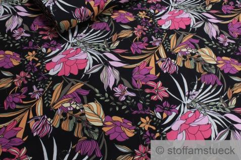 Stoff Viskose schwarz Blume pink fließend leicht weich Blumen farbenfroh
