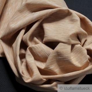 Stoff Baumwolle Single Jersey beige meliert Streifen leicht beidseitig gleich