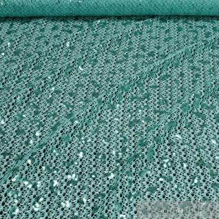 Stoff Polyamid Polyester Elastan Spitze türkis Pailletten elastisch weich blau