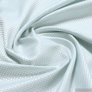 Stoff Polyester Baumwolle Jacquard Raute klein pastelltürkis weiß breit 276 cm