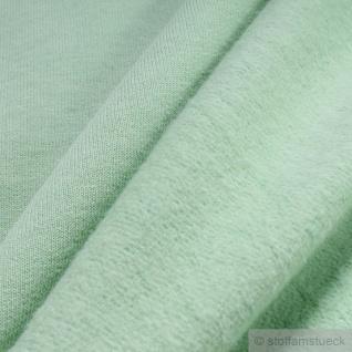 0, 5 Meter Stoff Baumwolle Single Jersey pastellgrün angeraut Sweatshirt weich - Vorschau 3