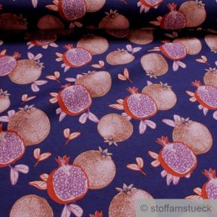 Stoff Baumwolle Polyester marine Granatapfel