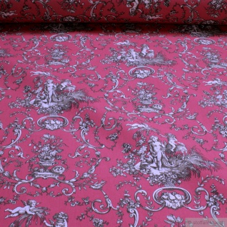 Stoff Baumwolle Rips Toile de Jouy Putte fuchsia beige 280 cm breit Engel