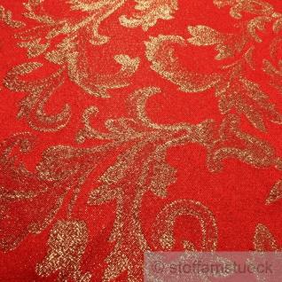 Stoff Polyester Jacquard Ornament rot gold Lurex Goldbrokat Barock Rokoko 280 cm überbreit - Vorschau 3