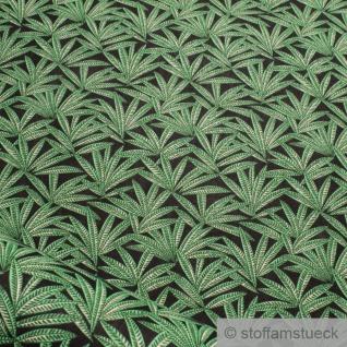 Stoff Baumwolle schwarz Hanf Baumwollstoff Cannabis Marihuana leicht weich