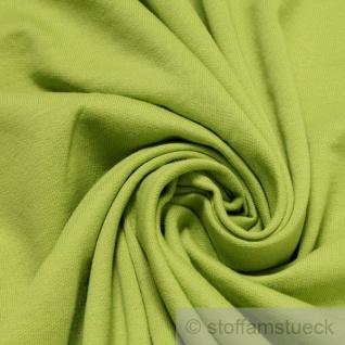 0, 5 Meter Stoff Baumwolle Single Jersey kiwi angeraut Sweatshirt weich hellgrün - Vorschau 1
