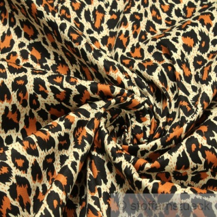 Stoff Baumwolle Elastan Köper braun Leopard Hemd Bluse Rock Animal Print