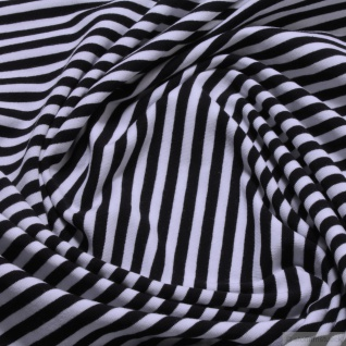 0, 5 Meter Stoff Baumwolle Elastan Single Jersey Streifen schwarz weiß