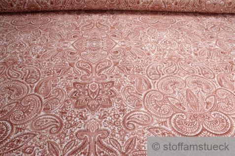 Stoff Ramie Baumwolle off-white Ornament terracotta bedruckt Leinenstruktur
