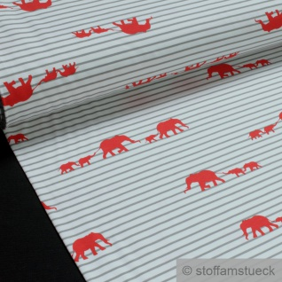 0, 5 Meter Stoff Baumwolle Elastan Single Jersey Streifen weiß hellgrau Elefant