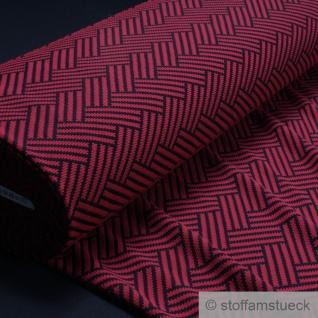 Stoff Polyester Viskose Elastan Jacquard Jersey Fischgrat rot schwarz