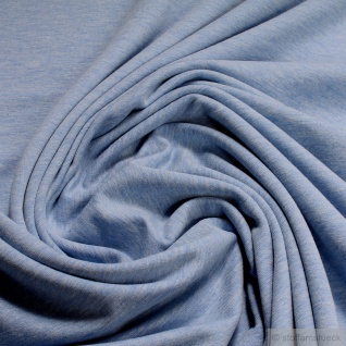 Stoff Baumwolle Polyester Elastan French Terry hellblau meliert Sommer Sweat