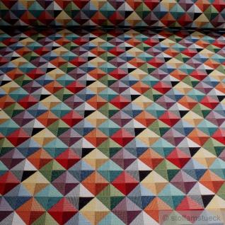 Stoff Baumwolle Polyester Gobelin Raute bunt Decke Kissenbezug Tasche