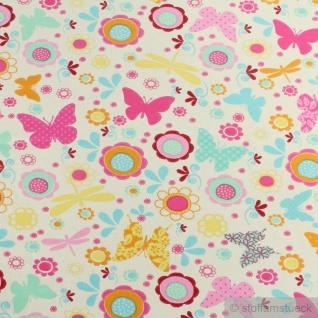 Kinderstoff Baumwolle Elastan Single Jersey ecru Blume Schmetterling Oeko-Tex - Vorschau 3