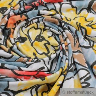 Stoff Viskose Elastan Single Jersey hellblau Blume fließend fallend Blumen - Vorschau 2