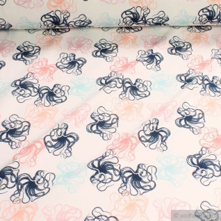Stoff Baumwolle Elastan Single Jersey off-white Tintenfisch Octopus Krake