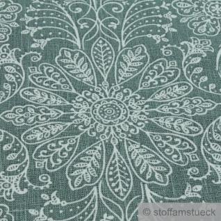 Stoff Leinen Ornament grün weiß Reinleinen - Vorschau 3