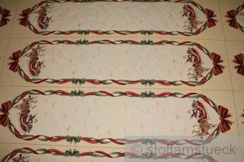 Stoff Weihnachtsstoff Baumwolle Polyester Gobelin Weihnachtsmann Tischläufer