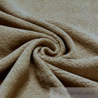 Stoff Baumwolle Polyester Fleece beige Baumwollfleece Plüsch kuschelig