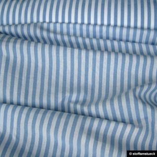 Stoff Baumwolle Bauernstreifen hellblau weiß 1 cm Streifen