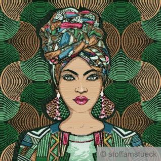 Stoff Kissen Panel Polyester Baumwolle Gobelin grün Afrikanische Schönheit