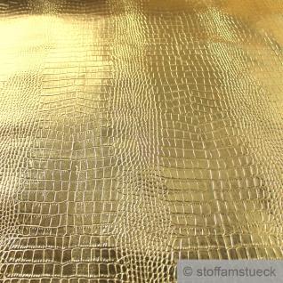 Stoff PVC Kunstleder Krokodil gold Glanz glänzend Alligator